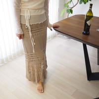 crochet knit skirt  BEIGE