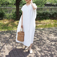 embroidery dress OFF WHITE