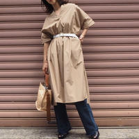 belted volume shirt dress BEIGE