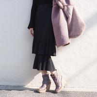 tiered pleated midi skirt BLACK
