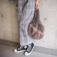 checked high waist  trousers BLUE