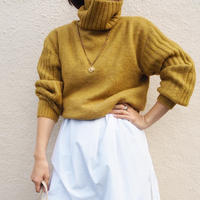 ribbed sleeve turtleneck sweater MUSTARD