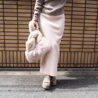 再入荷ribbed knit long skirt W.BEIGE