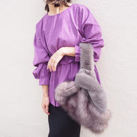 ruffle waist top PURPLE