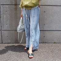 satin front slit pants L.BLUE