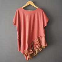 short sleeve asymmetry pullover PINK