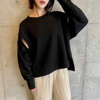 cut out sleeve sweatshirt BLACK