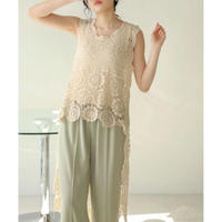 lace asymmetry top IVORY