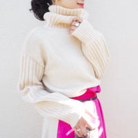 ribbed sleeve turtleneck sweater IVORY