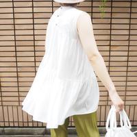 tiered sleeveless top WHITE