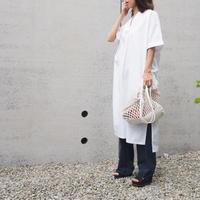 belted volume shirt dress WHITE