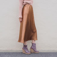 solid colored satin skirt BROWN
