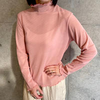 mesh color turtleneck top PINK