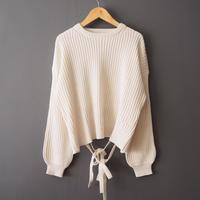 back-open ribbon sweater WHITE