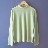 mesh color turtleneck top GREEN