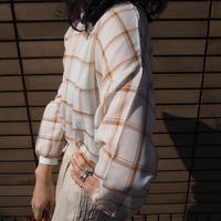 sheer check blouse BROWN