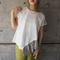 short sleeve asymmetry pullover  WHITE