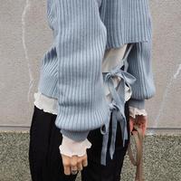back-open ribbon sweater BLUE