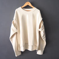 cut out sleeve sweatshirt WHITE
