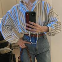 round collar voluminous sleeve shirt BLUE