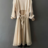 see through color shirt dress BEIGE