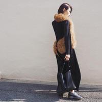pleated long design dress BLACK