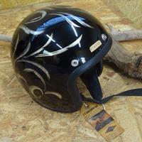 TT&CO ジェットヘル カスタムペイント シルバーリーフ ブラック 黒