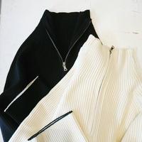 Zip bottle neck rib knit