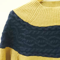 cable x rib stitch  knit