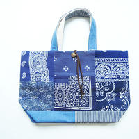 REMADE Patchwork TOTE BAG  DENIM  Mize. (M) バンダナBLUE