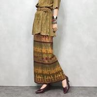 Ethnic goid winding skirt-558-9
