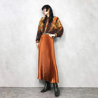 Orange flower brown rétro shirt-726-11