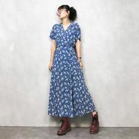 L.L.Bean flower blue dress-461-8