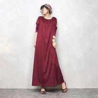 Yori hutg wine red maxi dress& scarf set-549-9