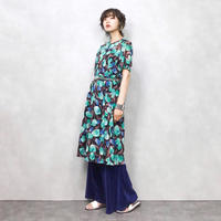 Roi green blue tulip dress-378-7