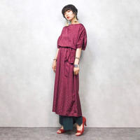 Wine red paisley dress-287