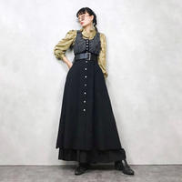 Metal button vintage winter dress-574-9