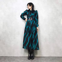 Emerald green  bird puff sleeve dress-632-10