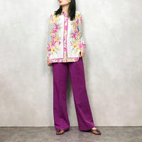 Healthy pink flower silk shirt