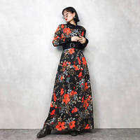 Orange flower import maxi dress-786-12