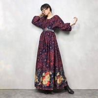 Volume sleeve big flower dress-520-9