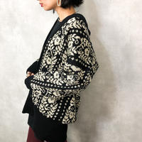 FLOWER pattern long knit cardigan-761-12