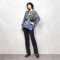 L.HOUYOU blue pattern shirt-514-8
