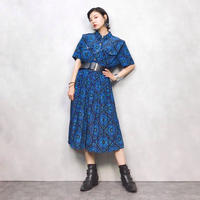 LESLIE FAY stained glass blue dress-465-8