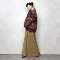 Nordic pattern v neck knit-684-11