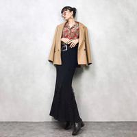 Fin mermaid  silhouette maxi black skirt-721-11