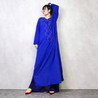 H.W BRSY embroidery blue dress-898-2