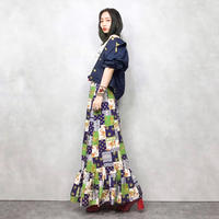 Patchwork design maxi skirt