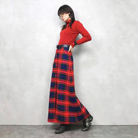 Checkered red maxi skirt-585-9