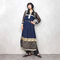 Lace sleeve vintage blue dress-571-9